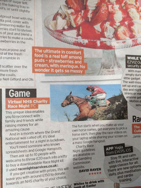 Virtual Race Night Downloads Horse Racing NHS Fundraising Ideas Sunday Mirror April 20201-